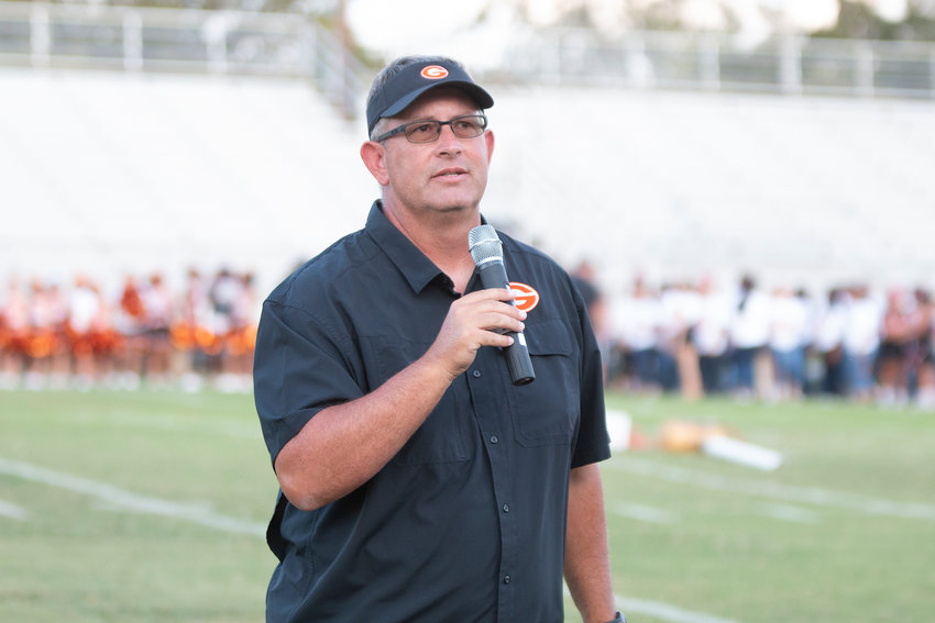 Gonzales head football coach Mike Waldie thanked the community for their ongoing support of the Gonzales Apaches program last week at the pep rally.