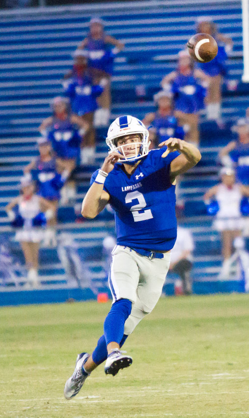 Lampasas starting quarterback Ace Whitehead (2) is the key to the Badgers' offense. Kickoff for the area round matchup is set for 7:30 p.m. at Pflugerville this Friday, Nov. 22.