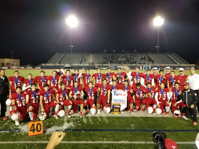 Shiner St Paul knocked off their rivals Hallettsville Sacred Heart 20-16 to capture their fourth title in five years, their eighth in school history.