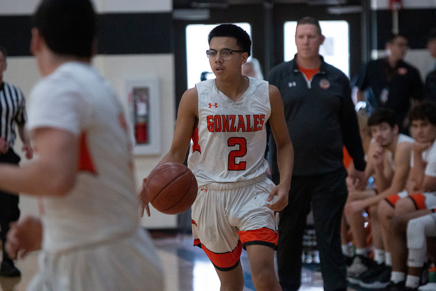 Xavier Aguayo (2) dribbles down the court in their 61-57 victory over Yorktown last Friday. The Gonzales Apaches won all four of their games to take first place in their home tournament.