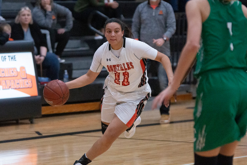 Hailey Riojas led the team in scoring with 14 points in Gonzales' 38-30 victory over Cuero. Riojas scored from all over the court, including from inside the paint as well as three three pointers.