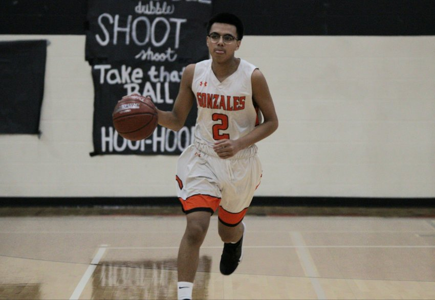 Xavier Aguayo (2) led the team in scoring with 17 points in Gonzales' 64-55 victory over Navarro on Friday. The Apaches are now tied in district with the Panthers at 5-3.