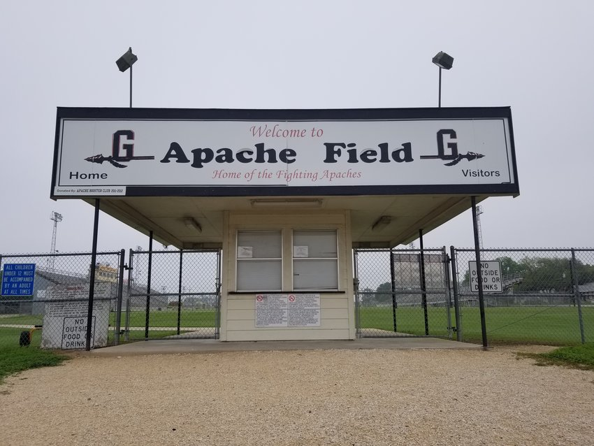 Apache Field, home to the Gonzales Apaches, sits empty as the state of high school athletics is left in limbo during the outbreak of COVID-19. Both the boys and girls soccer teams await word on whether a soccer playoff will still take place. The boys are currently ranked and were expected to make a long run.