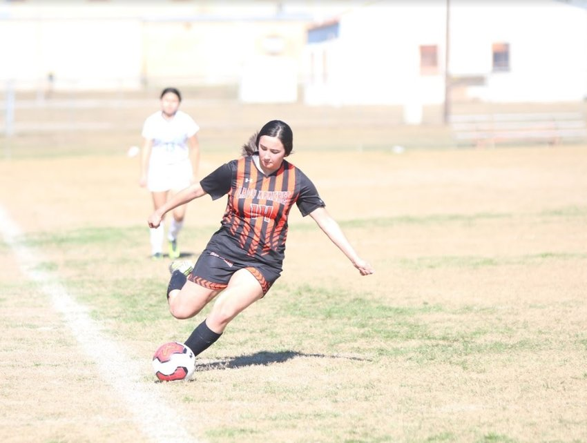 Stephanie Gonzales (14) was one of three Lady Apaches who were named to the District 29-4A first-team all-district. Sandra Palacios and Veronica Moreno were also awarded.