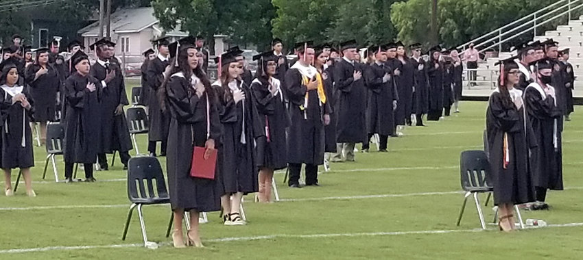 Social distancing was one of the many safety requirements for the Gonzales High School Class of 2020 during the graduation ceremony Friday evening at Apache Field. Despite the disruption by the COVID-19 pandemic, the class was able to reunite for the last time before moving on from high school.