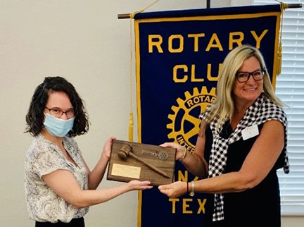 Past Rotary President Kelly A.Lindner, right, and new President Dr. Caitlin Walker.