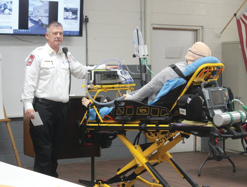 EMS Captain Scott Evan gave a demonstration of the new oxygen machine purchased by the district.