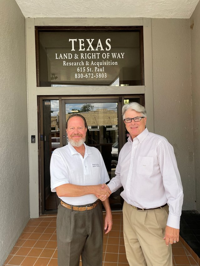 Rene de la Garza, left, will continue to serve as CEO of Texas Land & Right of Way LLC, while Rob Brown, who has opened Texas Land & Right of Way North in the Metroplex, will serve as president of the company.