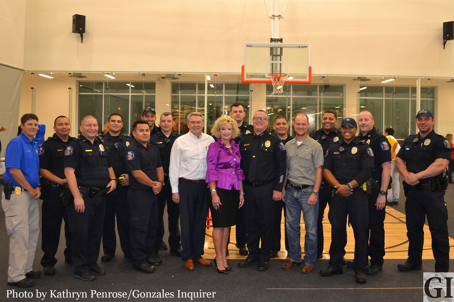 Gonzales Healthcare Systems CEO Chuck Norris, Gonzales Mayor Connie Kacir and State Representative John Cyrier joined Gonzales Police Chief Tim Crow and many first responders in celebrating National Night Out on Tuesday night.