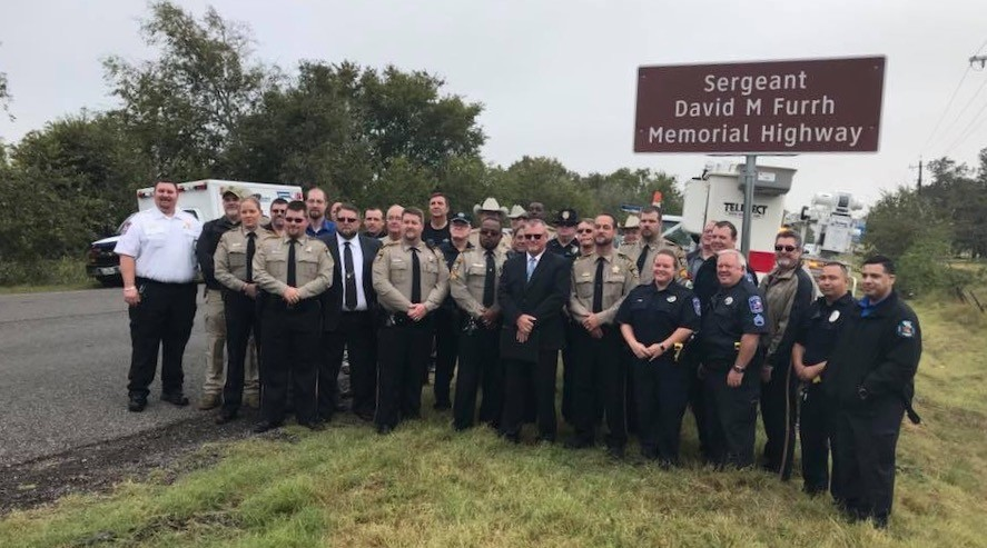 "First responders from Gonzales and surrounding counties attended a ceremony on Wednesday that changed the name of State Highway 95 to the ""Sergeant David M. Furrh Memorial Highway."" There, a new sign was unveiled, dedicating a portion of SH 95 to the late sergeant just outside of Shiner."