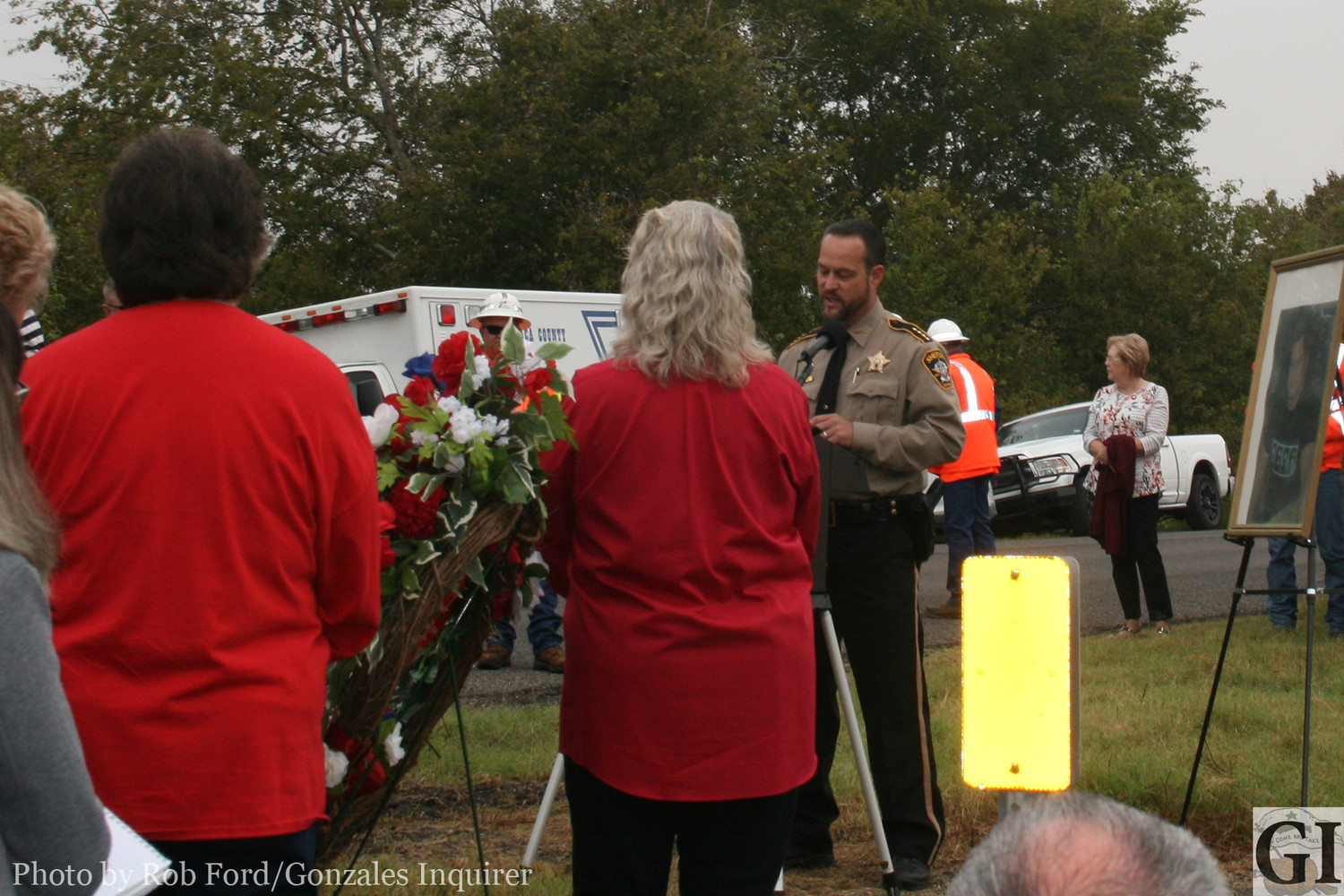 Gonzales County Sheriff Matt Atkinson spoke during a dedication renaming State Highway 95 in honor of fallen deputy Sgt. David M. Furrh, who was killed in the line of duty 17 years ago.