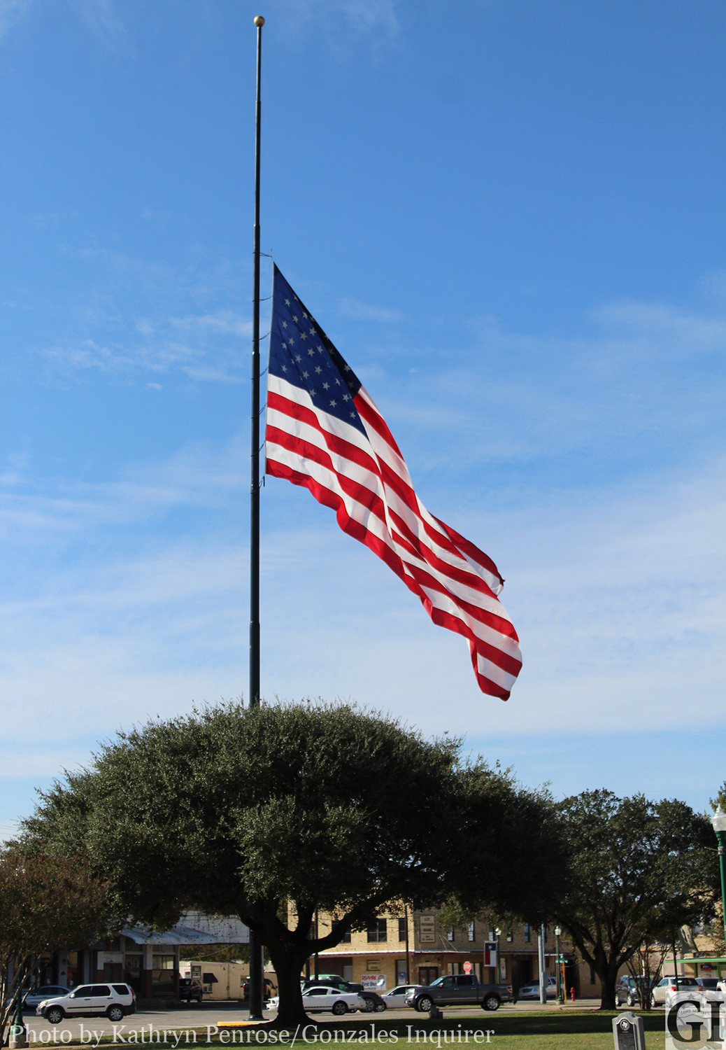 "The City of Gonzales has lowered flags to half-staff in observance of a presidential proclamation honoring the victims and families affected by the mass shooting Sunday afternoon at First Baptist Church, in Sutherland Springs. The flag will remain at half-staff until sunset, on Thursday, November 9. ""We offer our deepest sympathy for the families who lost loved ones in this tragic event,"" Gonzales Mayor Connie Kacir said."