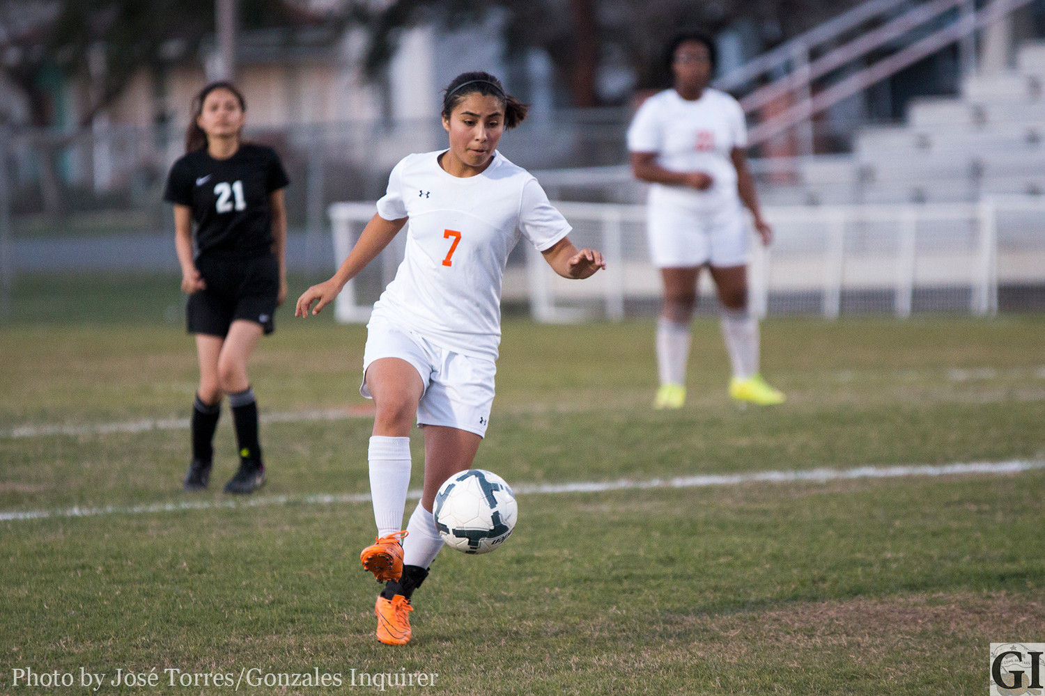 Senior Fernanda Velazquez will be a key player for the Gonzales Lady Apaches, not only on the field but off as well. Her skill as well as knowledge of the game will be a factor.