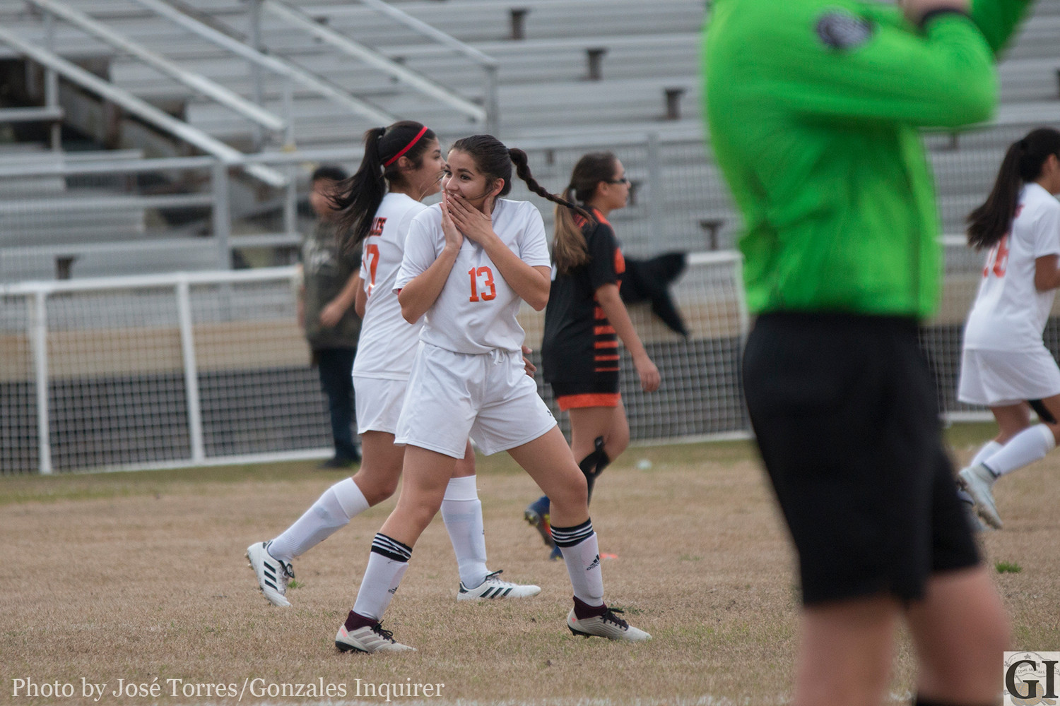 Briana Gomez (13) surprised herself with her chip-shot goal from 30 yards out in Gonzales' 5-0 victory over Smithville on Friday.