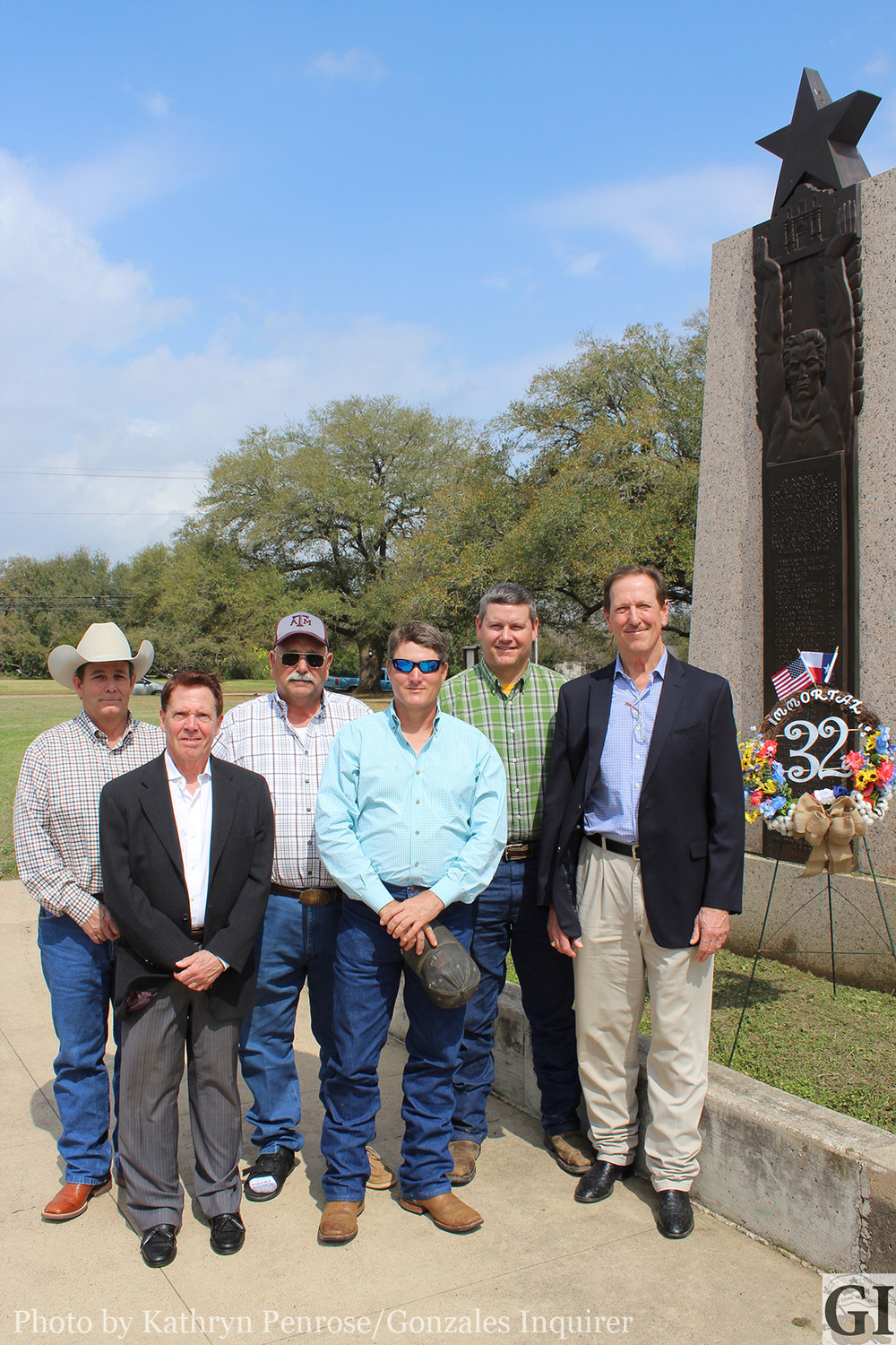 Members of Sons of the Republic of Texas Chapter 29 laid a wreath at the foot of the Immortal 32 monument at Gonzales Memorial Museum on Tuesday, Feb. 27, commemorating the departure of the Immortal 32 from Gonzales. Back Row (left to right): John Meador, Kenneth Fink and Brian Sample. Front row (left to right): Richard Croizer, Kirk Lubbock and Chapter President David Bird.