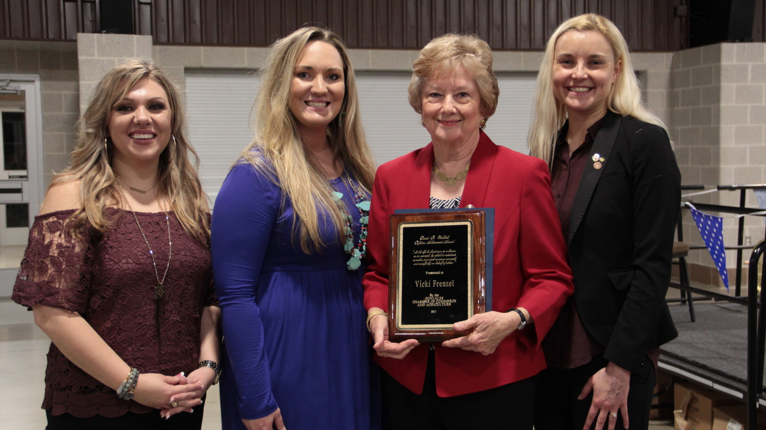 Vicki Frenzel was honored with the 2018 David B. Walshak Lifetime Achievement during the Gonzales Chamber of Commerce's annual chamber banquet.