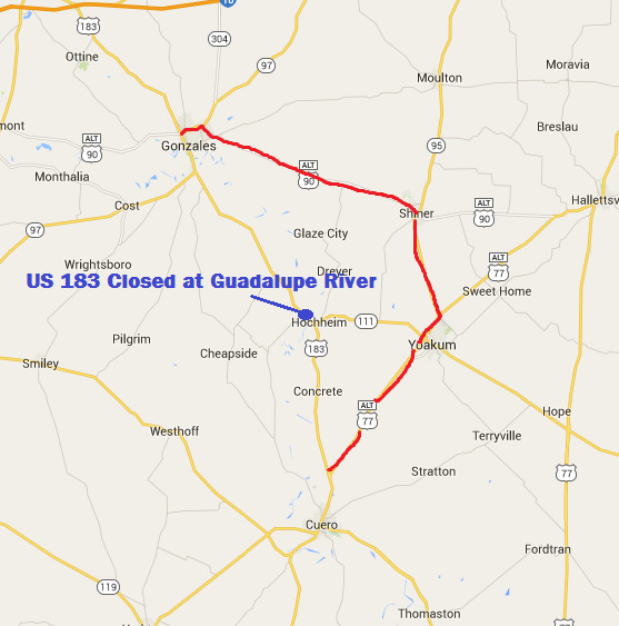 Us 183 closed at Guadalupe River near SH 111 in northern DeWitt