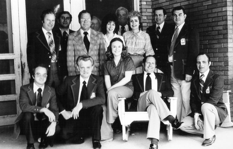 In March 1979, the Gonzales Chamber of Commerce's Minute Men welcomed  Deidra Voigt as the new manager of the Alcalde Hotel. Shown seated are Mickey King, Fred Havel, Deidra Doupy  Voigt, Elgin Heinemeyer and Dick Dixon. Standing, from left: Bernard Hajovsky, Joe Gomez, Vic Brown, Lawrence Walshak, Nancy Voigt, Otto Grindler, Patty McCulough, Carroll Erwin and Bill Johnson. The photo originally ran in the Gonzales Inquirer with an inset photo of Fred Droupy shown on Page 1B.