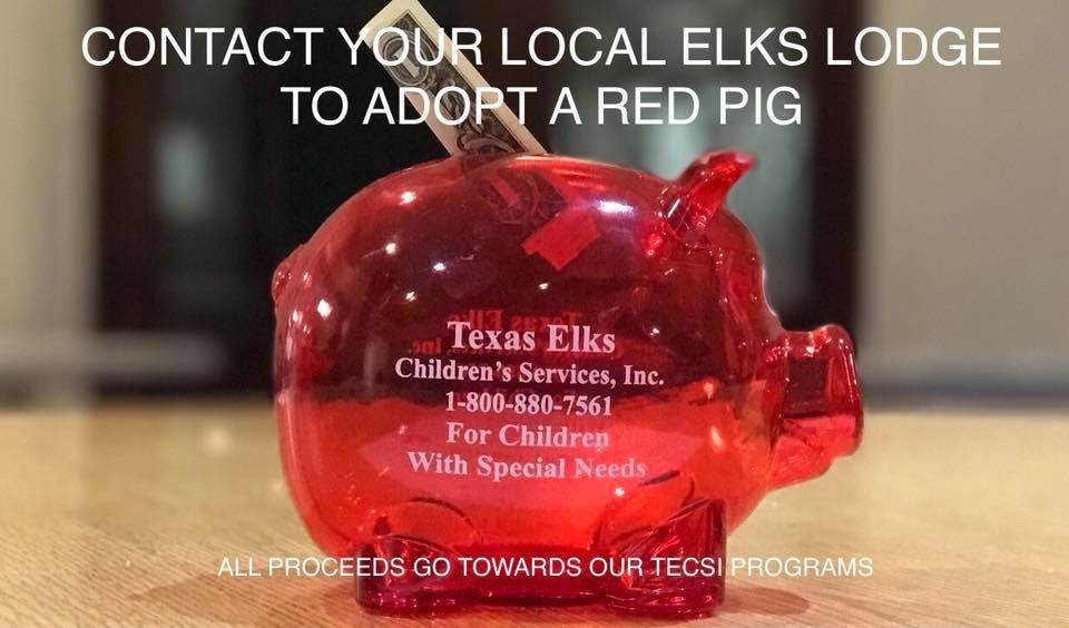 Contact your local Elks Lodge to adopt a red pig, to help donate money that will go toward Texas Elks Children's Services Inc. programs.