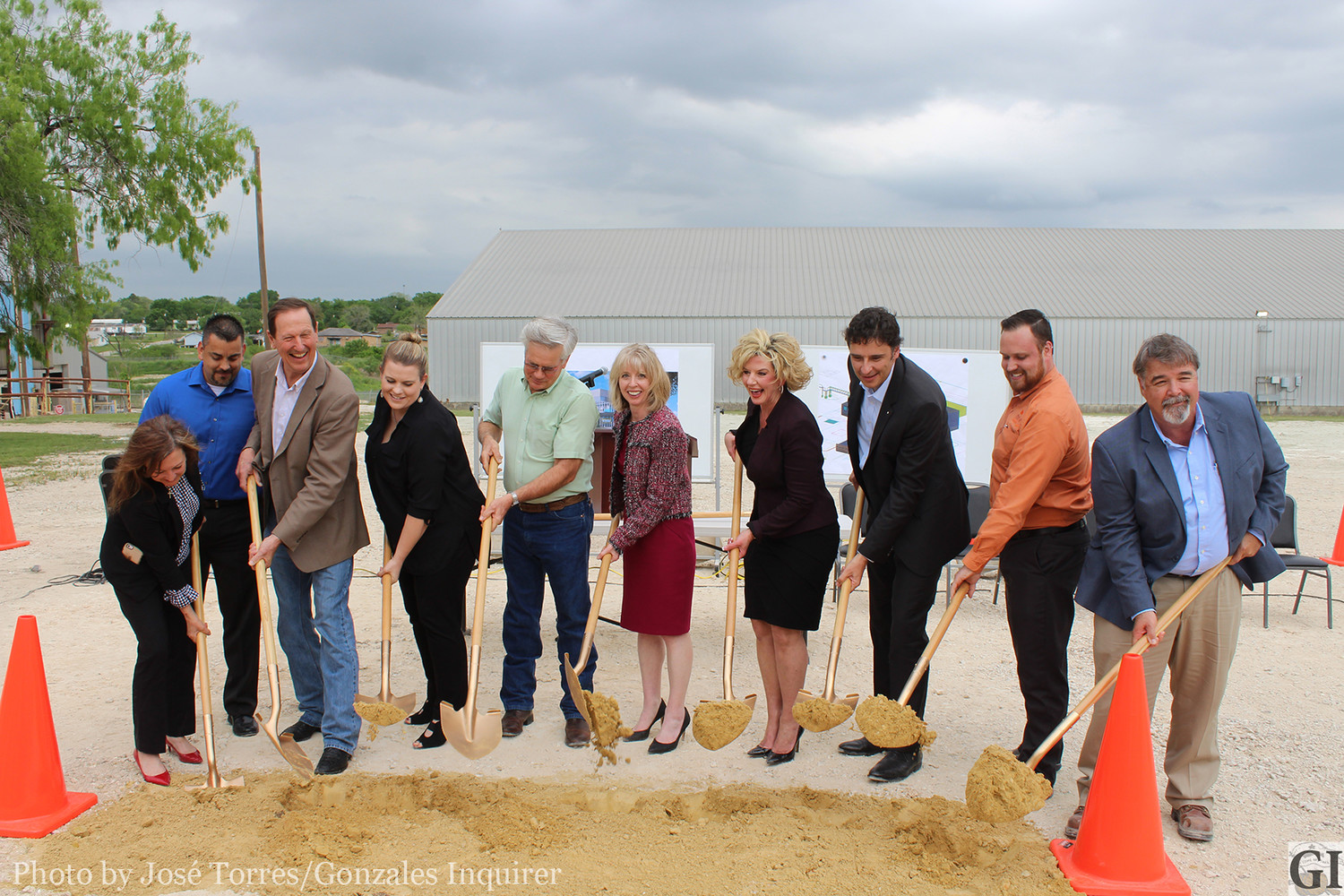 The groundbreaking ceremony for BYK's historic $50 million expansion project took place on Thursday, April 12. Pictured with the first shovels are: Dr. Kim Strozier of the Gonzales Independent School District, Justin Schwausch of GVEC and a member of the GISD school board, Arturo, a manager at BYK, Judge David Bird, Lindsay Dennis (Governor's Office), Dr. Ken Gottwald from the Gonzales Hospital District, Alison Avery (BYK North American operations president), Mayor Connie Kacir, Dr. Stephan Glander, BYK World operations president), Dewey Smith, and Glenn West, general manager at BYK in Gonzales, Texas.