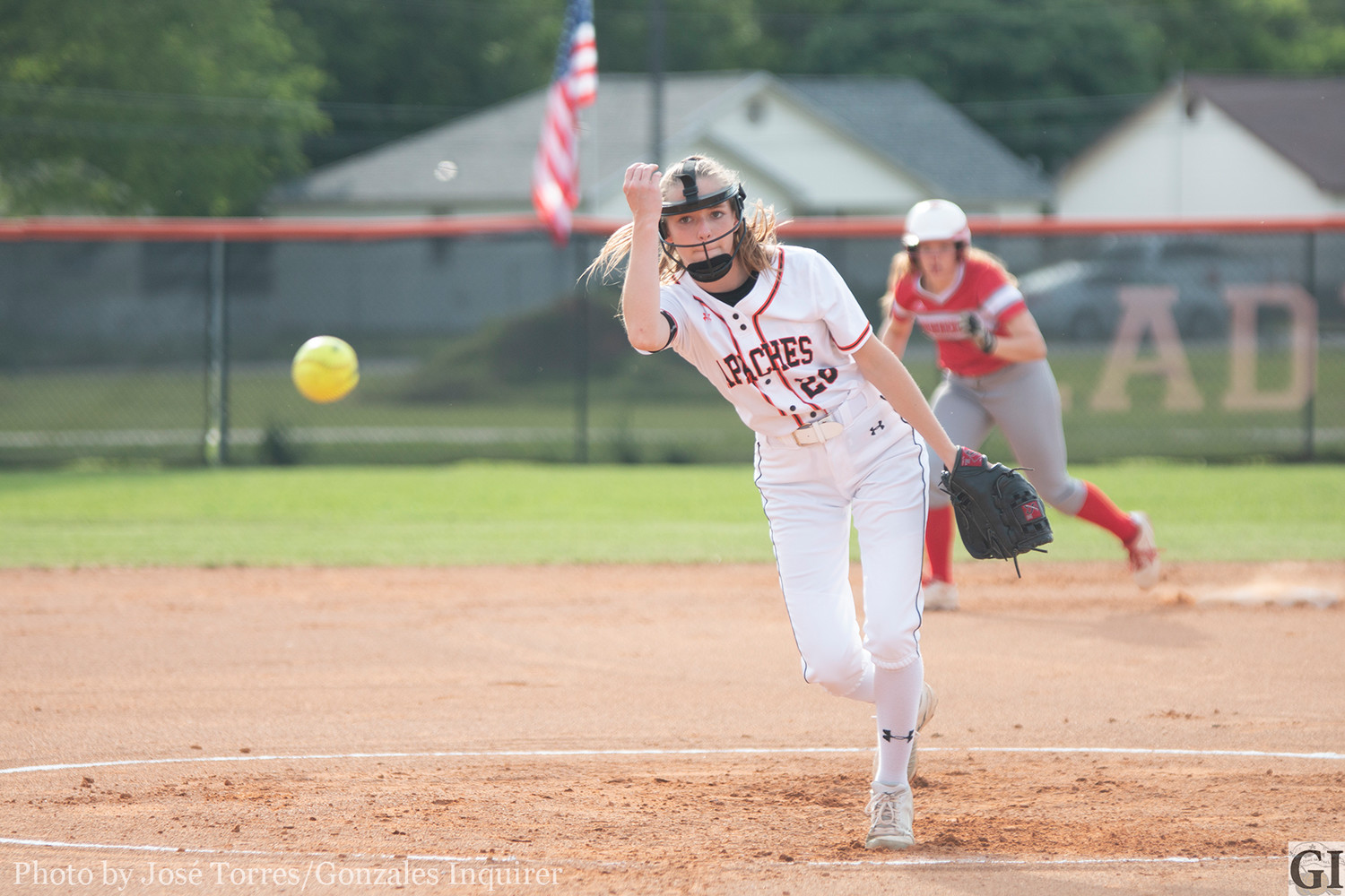 Freshman Shelby Davis took to the mound Friday, pitching four innings in a 12-0 loss to Fredericksburg.