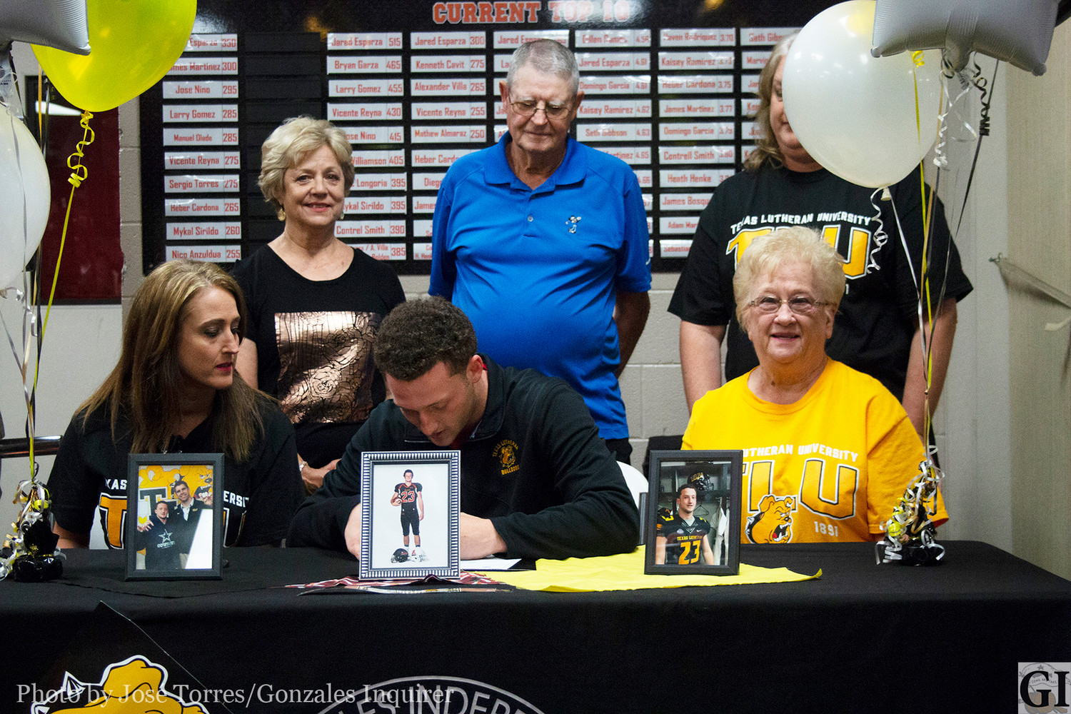 Colby Cox signed his letter of intent to Texas Lutheran University on Monday in front of his senior classmates at the Apache Fieldhouse, opting for a more intimate setting instead of the gym.