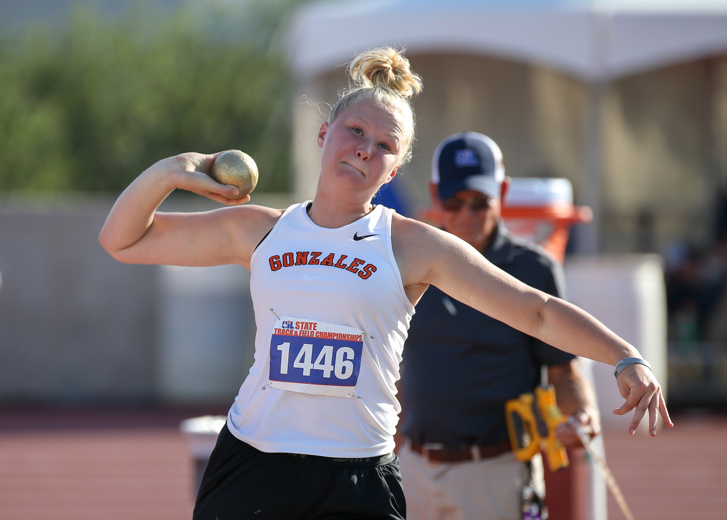 Devon Williams of Gonzales High School competes in the Class 4A girls shot put event at the UIL State Track and Field Meet at Mike A. Myers Stadium in Austin, Texas on Friday, May 11, 2018.