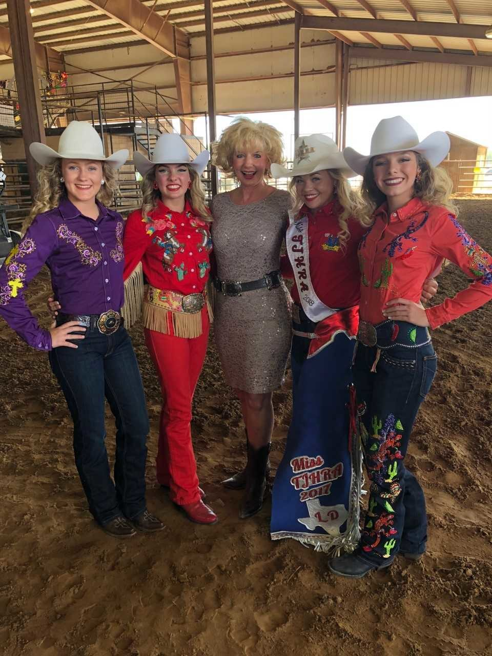 Gonzales Mayor Connie Kacir greets some of the Texas Junior High Rodeo Association royalty at the recent event that concluded last week. After discussions and a vote, the association decided to return to town for the next five years on a near unanimous decision. Pictured with Mayor Kacir (middle) are (from left) Katelynn Miller second runner up, Genevieve Blanchard first runner up, Laramie Dearing 2017-18 Princess and Amber Simons 2018-19 Princess.