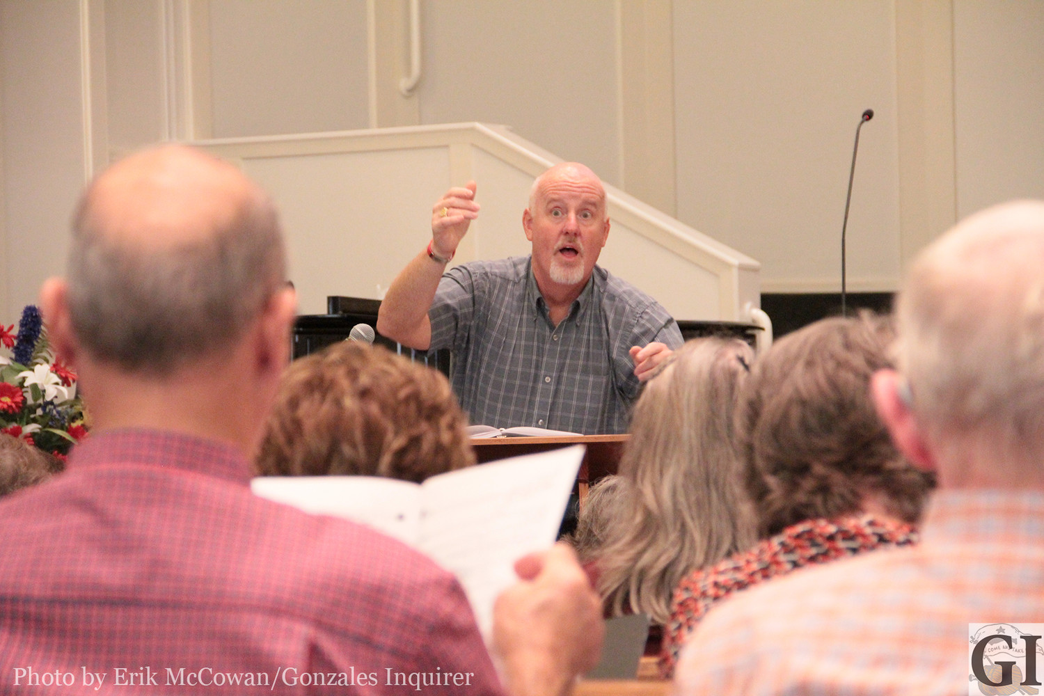 "Worship Pastor Kevin Hoggard of Gonzales First Baptist Church leads the Glory Bound Singers in rehearsals on a recent Monday night. The ""senior adult"" choir will perform a slate of tunes this Sunday at 6 p.m."