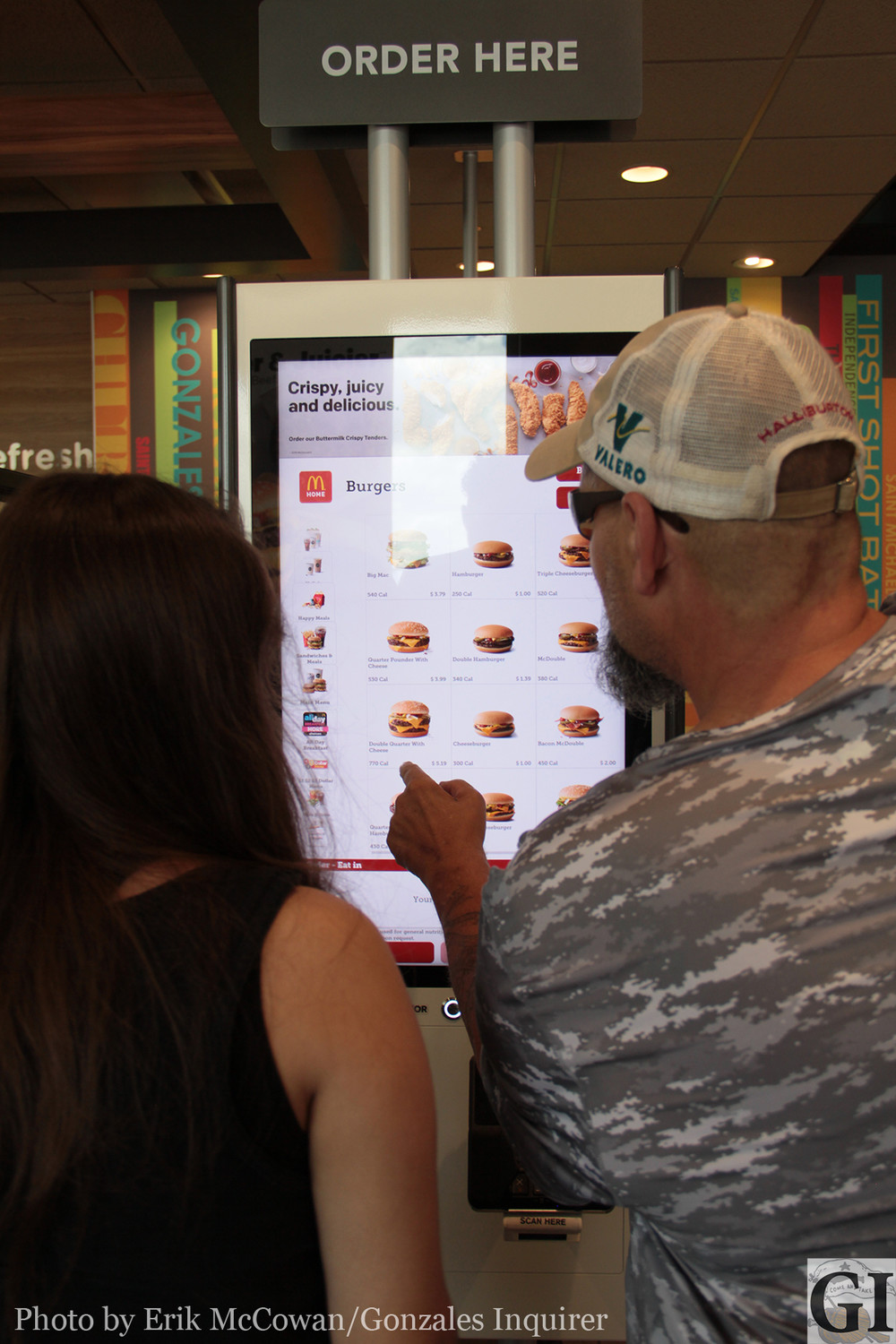 The new interactive menu screen at McDonald's allows customers to select and customize their orders in-store. If you download the restaurant's official app, you can place your order from home.