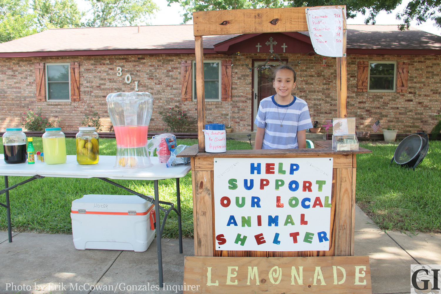 Rylee Alvarez has decided to spend the dog days of summer by helping the Passion for Paws Animal Shelter in Nixon. Her lemonade stand is a personal project to raise money for the shelter and can be found at 301 E. 6th St. in Nixon. She is usually at the stand on Friday and Saturday afternoons.