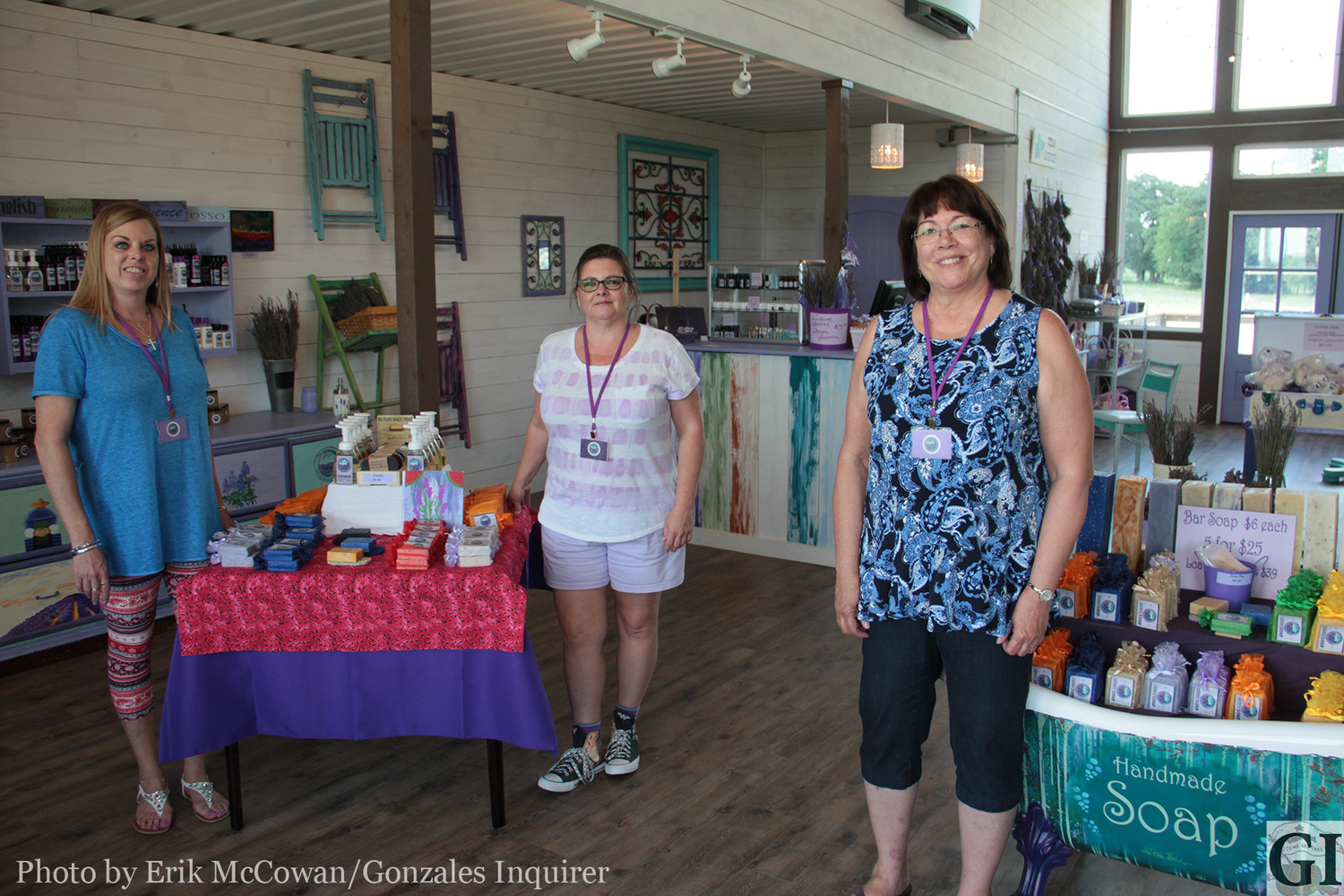 From left, Tina Rader, Princess Ferrell, and owner Erin Leavitt take a stroll around the new establishment that has everything lavender from soaps and shampoo to powders and beard oil.