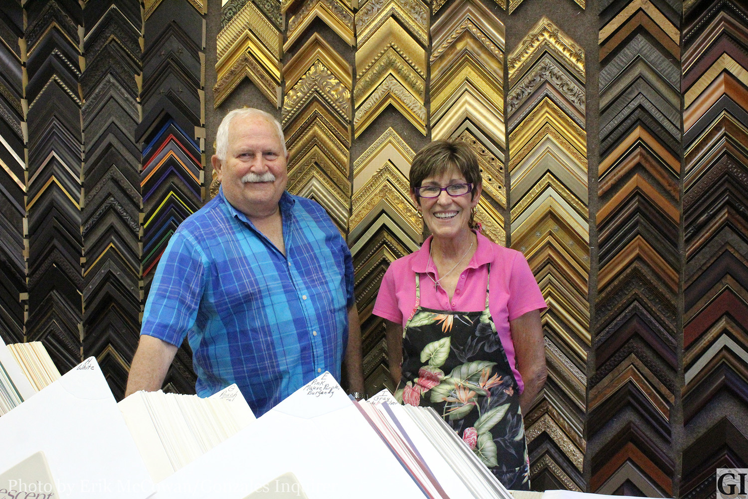 Elgin Heinemeyer (left) and Terry Towns (right) have been business partners at Frames and Things for over 16 years, providing quality custom picture framing for Gonzales County.
