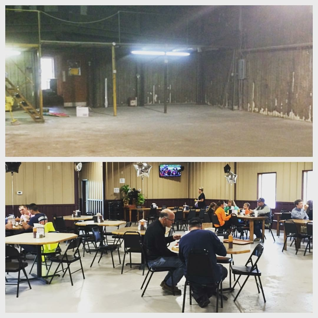 This is what the Baker Boys building looked like when first purchased in 2014, top photo. Bottom photo is a snapshot of the dining area today.