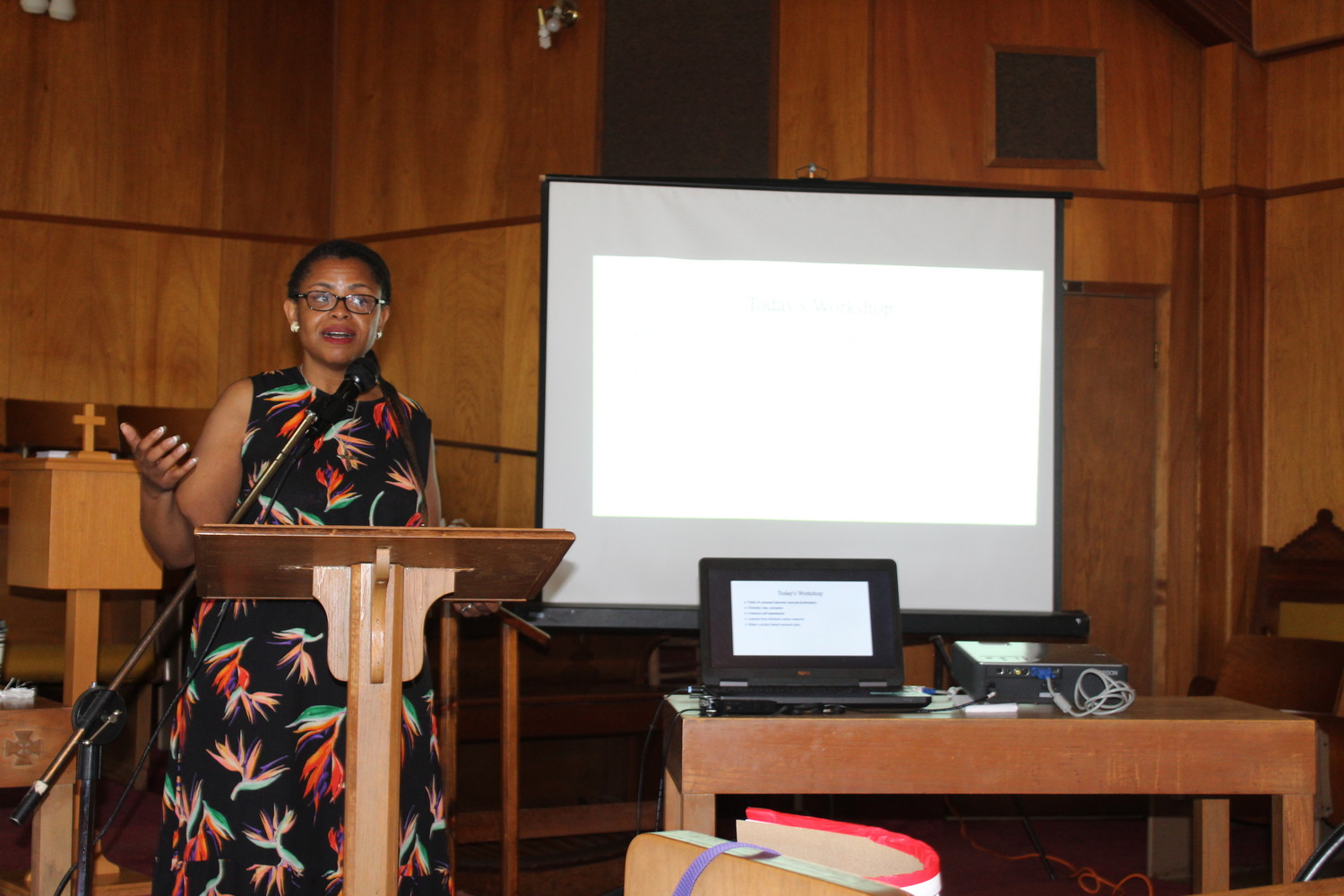 Dr. Andrea Roberts from Texas A & M University explained about the Texas Freedom Colonies Project to the audience at the Providence Baptist Church. Over 30 people heard the goals and plans for the project after an introduction by Judge David Bird.