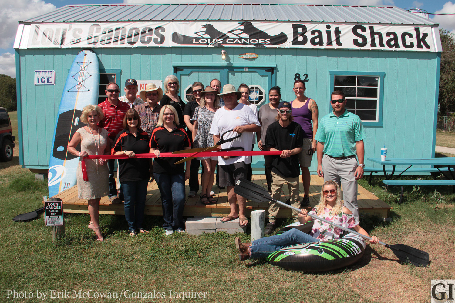 Owners Lou and Cheri Lane Garino of Lou's Canoes hosted a ribbon cutting for their business last week with the Gonzales Chamber of Commerce. The shack offers tube, canoe, and kayak rentals, as well as a selection of live and dead baits for fishing the Guadalupe. The Garinos hope to take advantage of the tourism opportunities on the river where currently none exist.