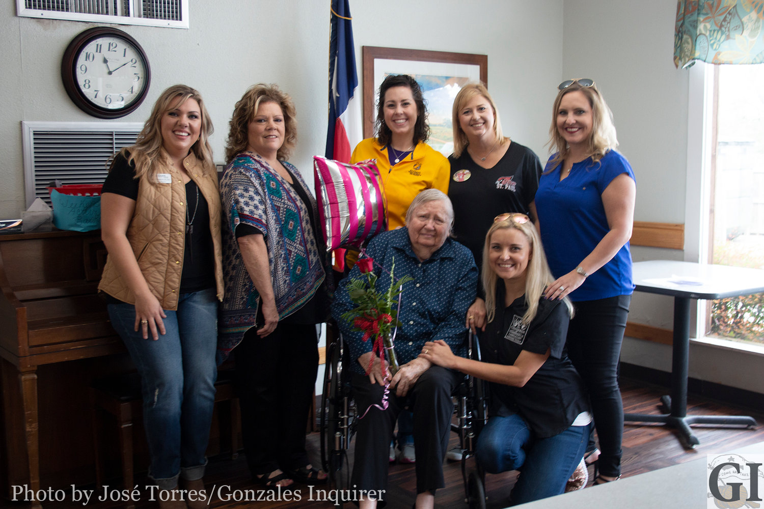 The Come and Take It Committee announced Mary Bea Arnold (pictured with her flowers and a rose) as this year's Parade Marshal.