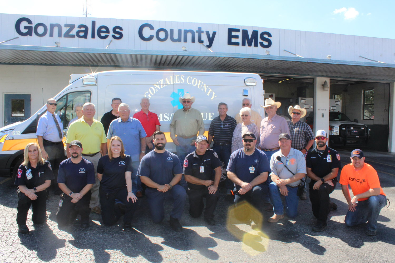 The Gonzales County Health Foundation recently donated a new 2018 transport ambulance ($66,250) and $20,000 towards new communication equipment to the Gonzales County Emergency Medical Services(EMS) and Rescue teams. Pictured in front of the new ambulance are members of EMS, Rescue and Gonzales County Health Foundation board members.