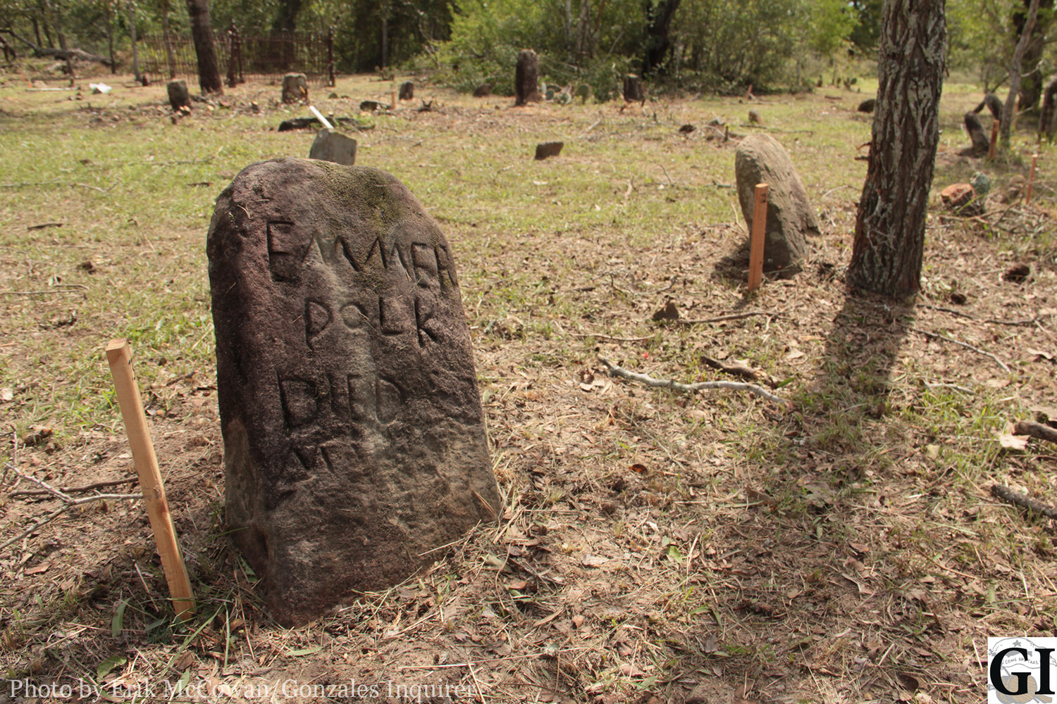 An old tombstone marks the spot of a former resident of the forgotten Terryville Community south of town. Most gravesites are marked by simple sandstones with names that have been worn off over the decades.