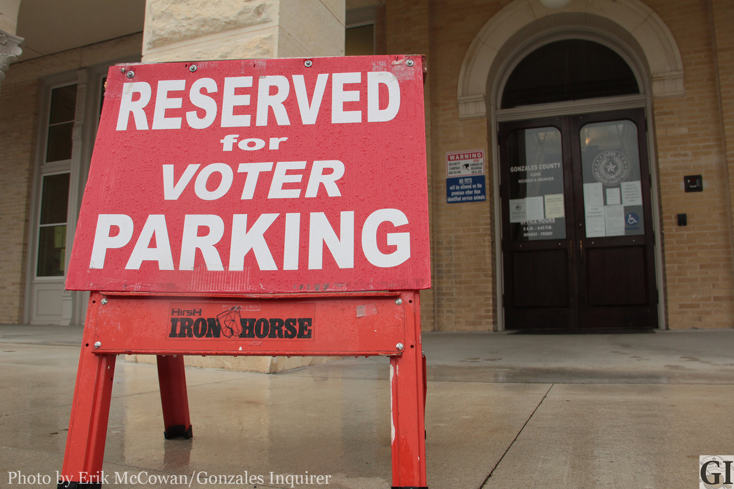 Gonzales County has rolled out the red carpet for early voting, or at least the reserved parking spaces. People met poll workers on Monday, with lines said to be inching out the door of the Randle-Rather Bldg. Wednesday was a little slower, likely because of the dreary conditions.