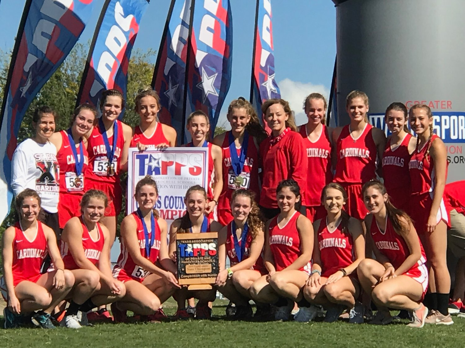 Pictured are the state champion Lady Cardinals. Kneeling down (from left) are Sarah Barecky, Taylor Wauson, Riley Johnson*, Hope Kapavik*, Bailey Blair*, Trinity Garza, Macy Grabarkievtz and Lauryn Kubenka. Top row (from left) are assistant Nicco Brown, Paige Brown*, Cameron Pesek*, Delynn Pesek, Juliana Davis*, Rebecca Wagner*, Head Coach Dana Beal, 