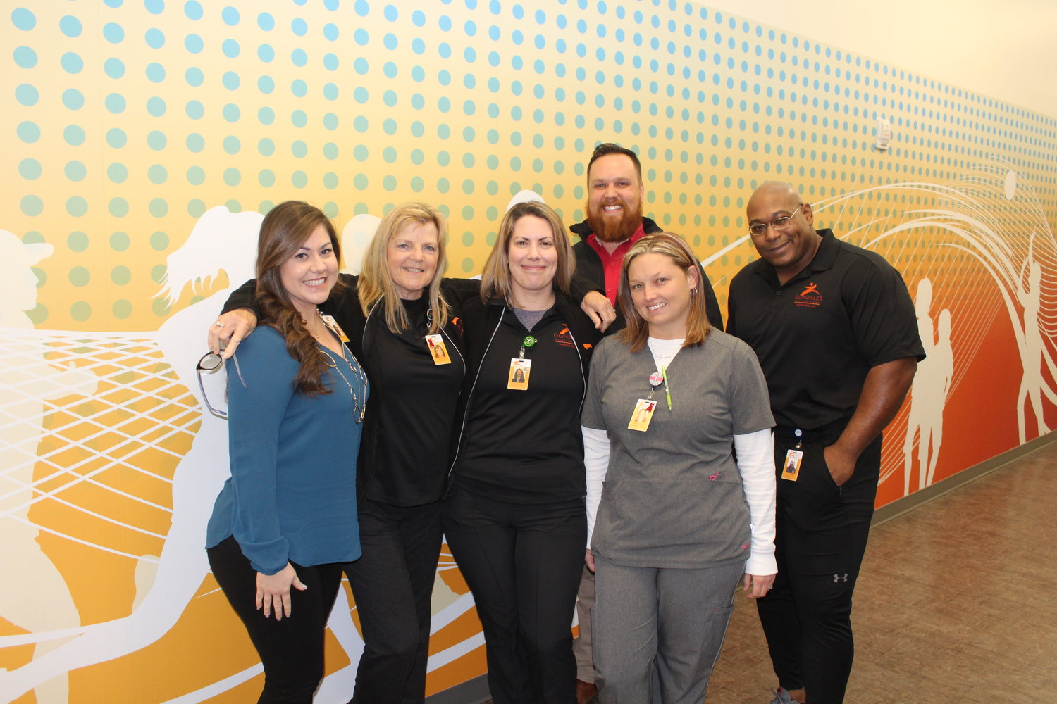 Thrive management and staff are operating one of Gonzales' most-important community assets. Pictured are: Melissa Collazo, Robin Tinsley, Belle Ducote, Jennifer Scott, Dewey Smith and Cedric Nichols.