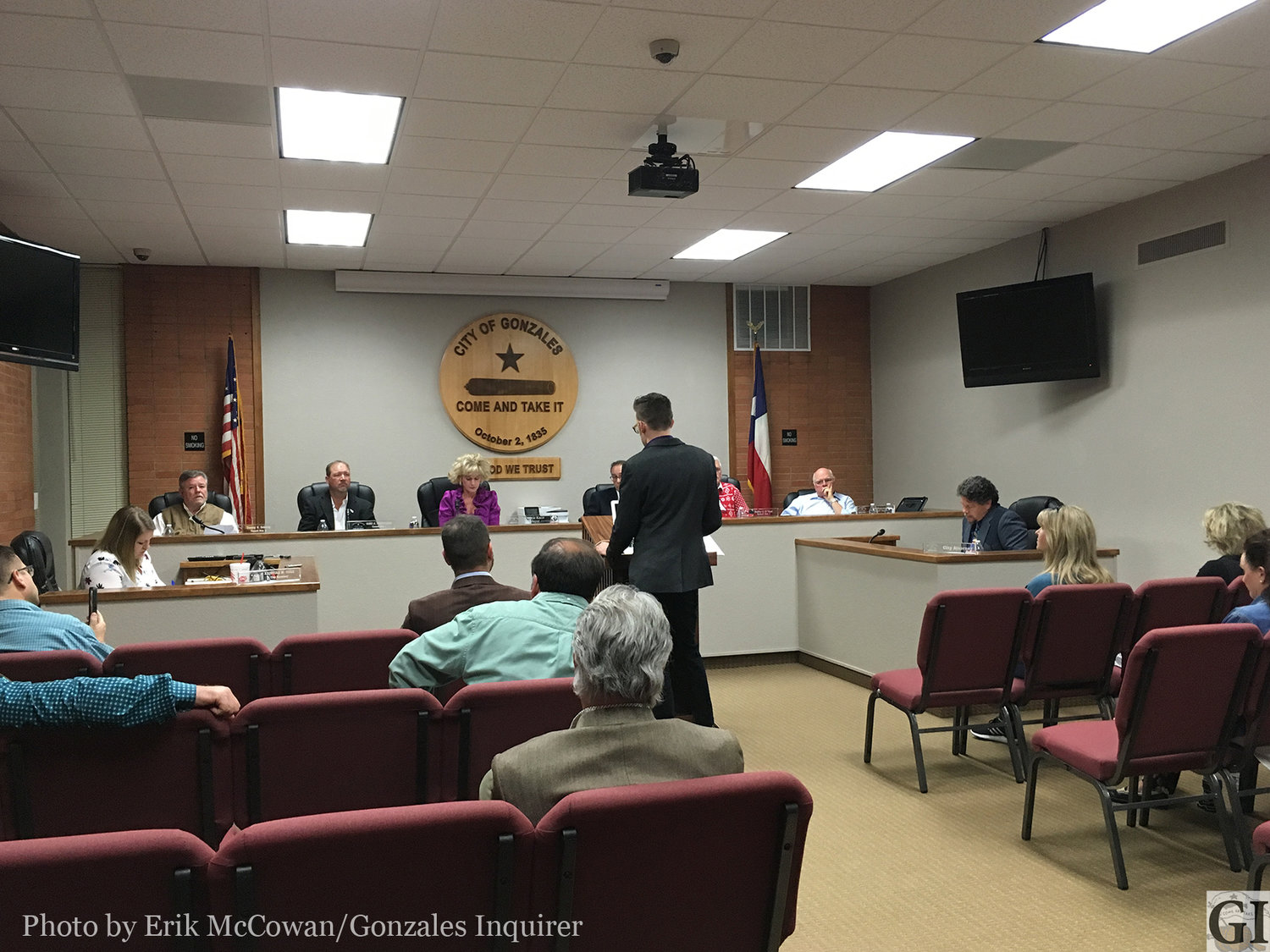 Joel Gammage of Hat Rod Productions informs the Gonzales city council of his scheme to uproot his car show from Lockhart to Gonzales this February.