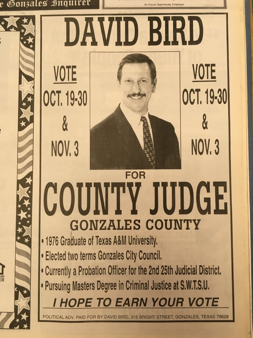David Bird was still all smiles back in 1998 when he first ran for county judge. Monday was his last day in office after 20 years guiding Gonzales County.