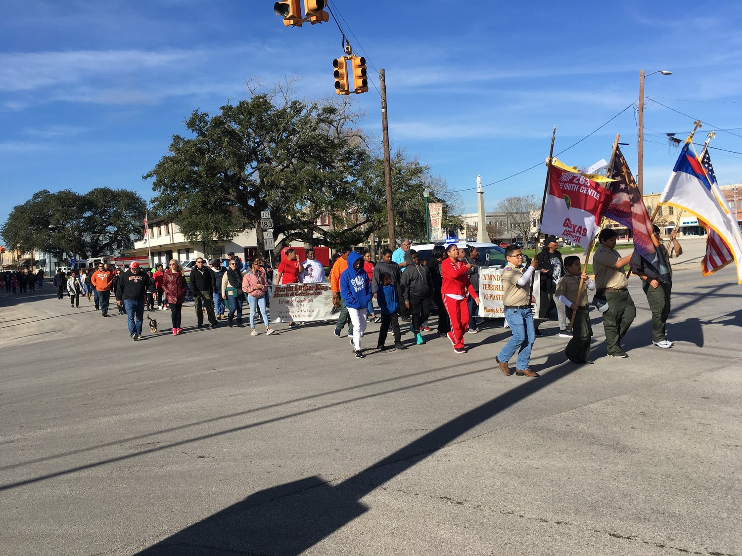 "A large crowd assembled Monday morning and marched through Gonzales streets in remembrance of MLK. Songs were led by those at the head of the group, and ""We Shall Overcome"" reminded those that racial divisions still exist in the ongoing struggle for equal rights and opportunities in Gonzales, Texas, and America."