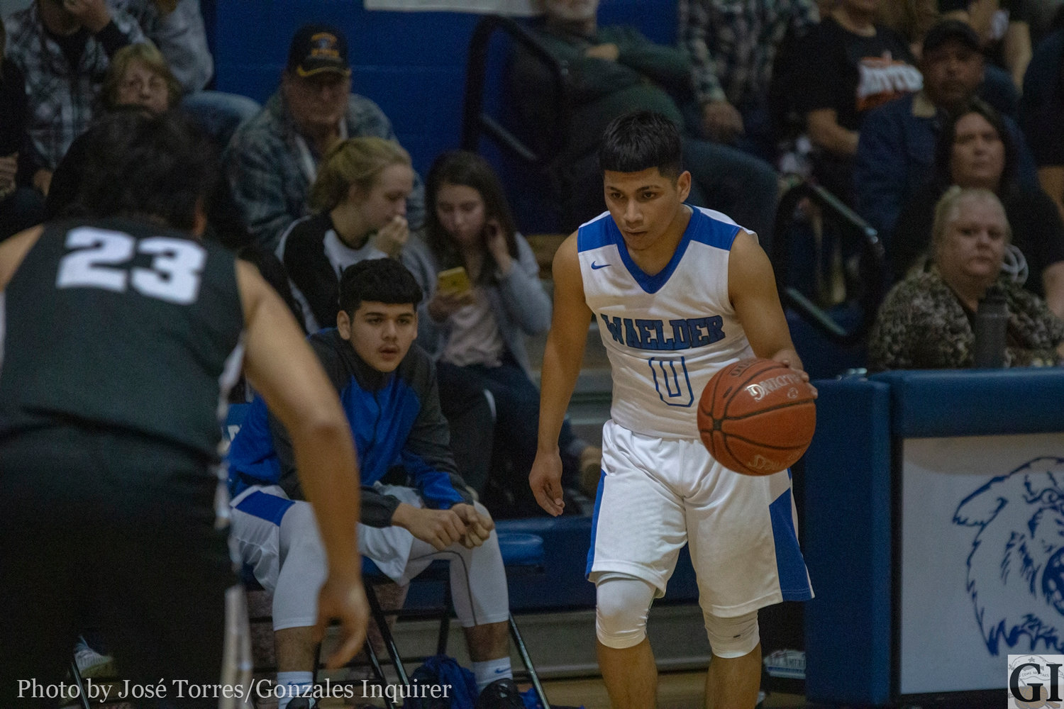 Carlos Reyes (0) ended his night with seven points in Waelder's 50-45 overtime loss against Moulton on Tuesday.