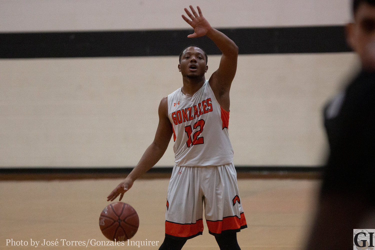 Senior Apache player Contrell Smith (12) was effective Tuesday night, leading the team in scoring with 17 points as he went 8-of-13 from the field in Gonzales' 60-54 loss.