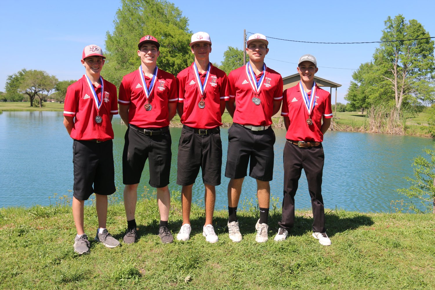 On the boys team are (from left) Braden Clampit, Carson Reese, Walker Jackson, Cole Brown and Cody Hollenbach.