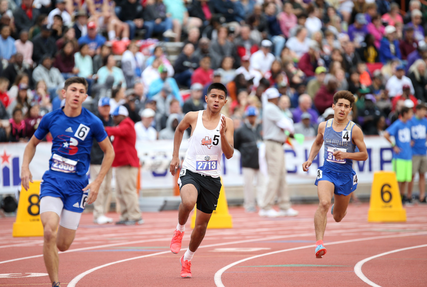 Antonio Hernandez of Gonzales High School runs in the Class 4A boys 800-meter run at the UIL State Track and Field Meet on Saturday, May 11, 2019 at Mike A. Myers Stadium in Austin, Texas.