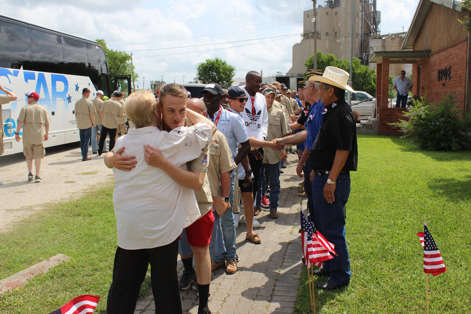 Busloads of veterans accompanied by local police escorts paraded through Gonzales last Friday as part of the annual Warriors Weekend.